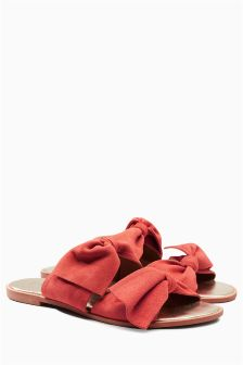 Suede Double Bow Mules
