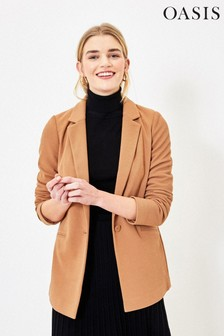 Oasis Camel Single Breasted Blazer