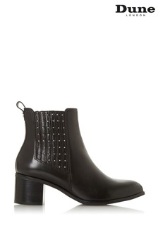 Dune London Black Leather Gusset Mid Block Heel Ankle Boots