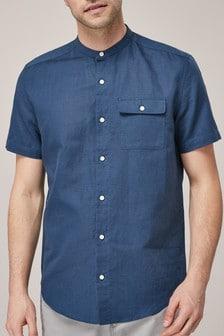 Рубашка без воротника с коротким рукавом из смесового льна