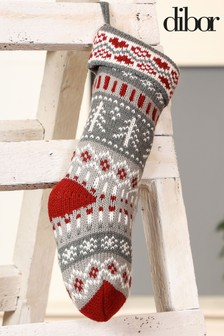 Grey Chunky Knit Fairisle Pattern Stocking by Dibor