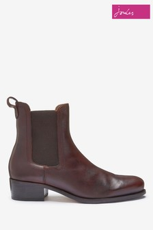 Joules Brown Stamford Heeled Leather Chelsea Boots