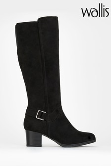 Wallis Black Buckle Detail Casual High Leg Boots