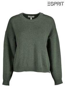 Esprit Green Long Sleeved Crew Neck Sweater