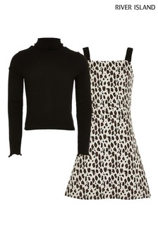 River Island Light Brown Leopard Pinafore And Roll Neck Set