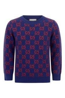 Boys Navy Wool GG Jumper