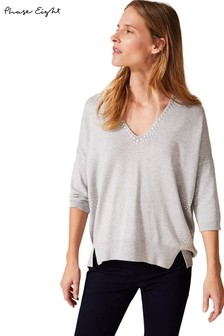 Phase Eight Grey Selia Stud Detail Knit Jumper