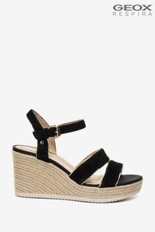 Geox Women's Ponza Black/Gold Sandals