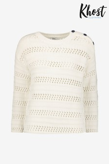 Khost Cream Mock Crochet Jumper