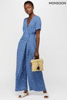 Monsoon Ladies Blue Arlo Print Long Jumpsuit