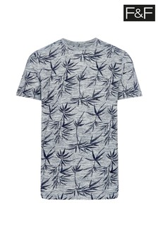 F&F Grey Bamboo Floral Print Inject T-Shirt