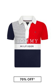 Tommy Hilfiger Boys Navy Cotton Polo Top