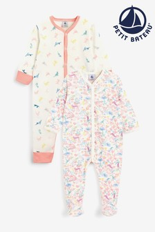 Petit Bateau Pink Printed Babygrows Two Pack