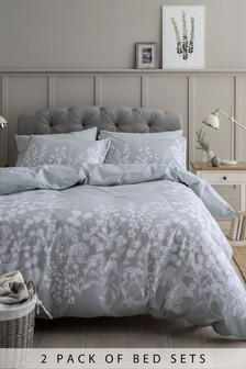 2 Pack Woodland Floral Duvet Cover and Pillowcase Set
