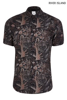 River Island Black Painted Feather Shirt