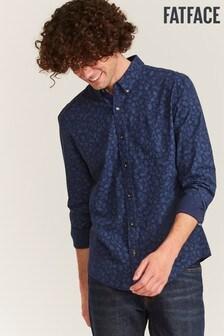 FatFace Blue Slim Hove Print Shirt