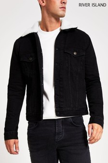 River Island Black Denim Borg Collar Washed Jacket