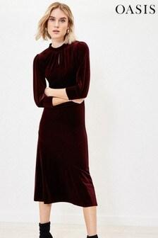 Oasis Red Velvet Midi Dress