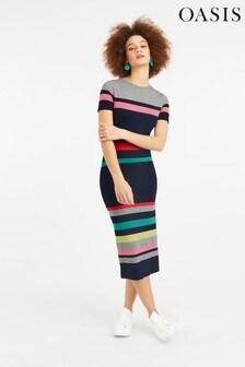 Oasis Natural Rainbow Marl Stripe Tube Dress