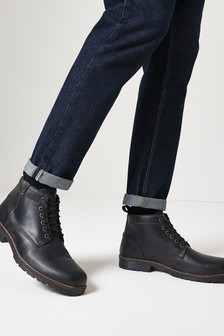 Leather Tab Lace-Up Boots