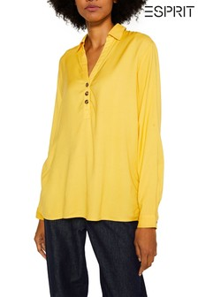 Esprit Long Sleeved V-Neck Blouse With Button Details