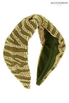 Accessorize Green Khaki Zebra Embellished Aliceband