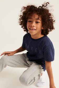 Baker by Ted Baker Boys Navy Geometric Cut And Sew T-Shirt