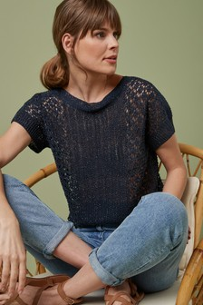 Stitchy Short Sleeve Jumper