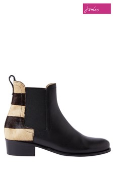Joules Black Stamford Heeled Leather Chelsea Boots