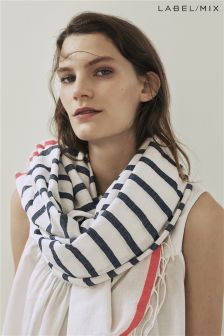 Mix/Rose And Rose Stripe Oversize Fringed Scarf