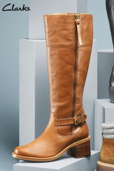 Clarks Tan Clarkdale Sona Buckle Zip Long Boots