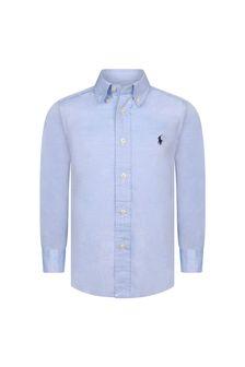 Boys Blue Cotton Oxford Shirt
