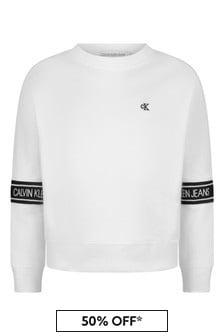 Calvin Klein Jeans Girls White Organic Cotton Logo Tape Sweater
