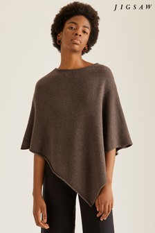 Jigsaw Brown Wool Cashmere Blend Rolled Poncho