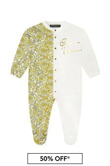 Versace Baby Boys White Cotton Babygrow