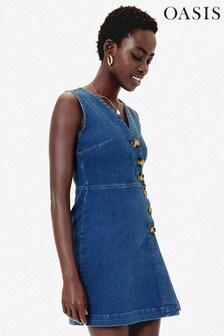 Oasis Blue Button Detail Shift Dress