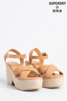 Superdry Suede Cross Strap Espadrille Wedge Sandals
