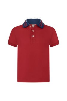 Boys Red Piquet Knitted Collar Polo Top