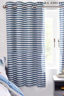 Laura Ashley Blue/White Woven Stripe Eyelet Blackout Curtains