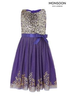 Monsoon Blue Princess Glitter Dress