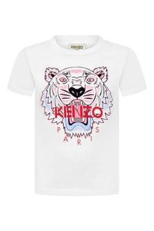 Girls White Tiger Jersey T-Shirt