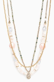 Multi Layer Shell Detail Short Necklace