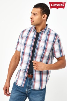 Levi's® Navy And Red Short Sleeve Checked Shirt