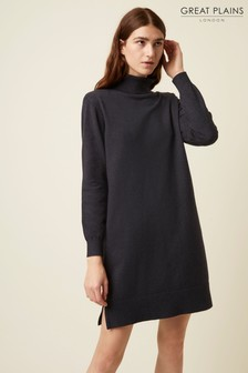 Great Plains Blue Moselle Knit Roll Neck Dress