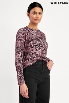 Whistles Pink Wildcat Print Sweater