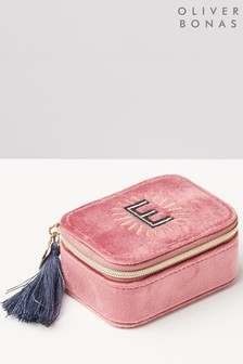 Oliver Bonas Sol Pink Velvet Alphabet E Travel Jewellery Box