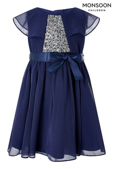 Monsoon Baby Navy Sustainable Cape Sequin Dress