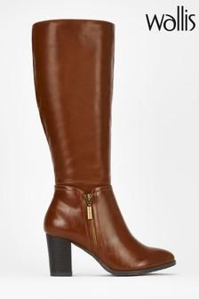 Wallis Brown Side Zip Casual High Leg Boots