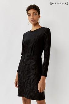 Черное фактурное платье-мини под крокодиловую кожу Warehouse