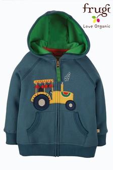Frugi Organic Cotton Green Tractors Hoodie